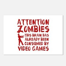 Attention Zombies Video Games Postcards (Package o