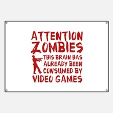 Attention Zombies Video Games Banner