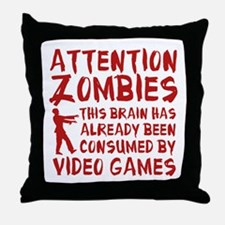 Attention Zombies Video Games Throw Pillow