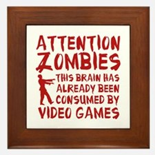 Attention Zombies Video Games Framed Tile