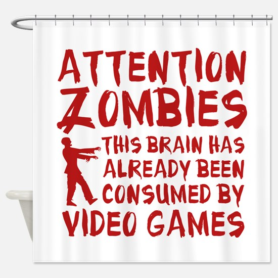 Attention Zombies Video Games Shower Curtain