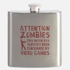 Attention Zombies Video Games Flask