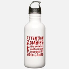 Attention Zombies Video Games Sports Water Bottle