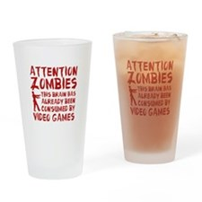 Attention Zombies Video Games Drinking Glass