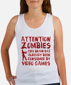 Attention Zombies Video Games Women's Tank Top