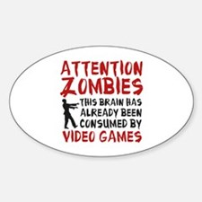 Attention Zombies Video Games Decal