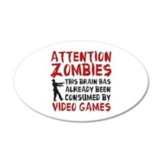 Attention Zombies Video Games 22x14 Oval Wall Peel