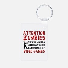 Attention Zombies Video Games Keychains