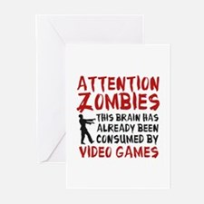 Attention Zombies Video Games Greeting Cards (Pk o