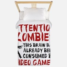 Attention Zombies Video Games Twin Duvet