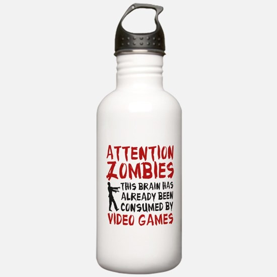 Attention Zombies Video Games Water Bottle