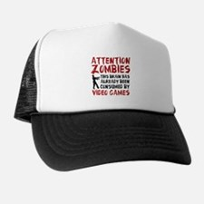 Attention Zombies Video Games Trucker Hat