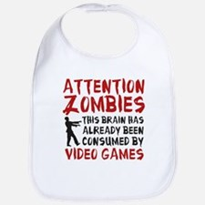 Attention Zombies Video Games Bib