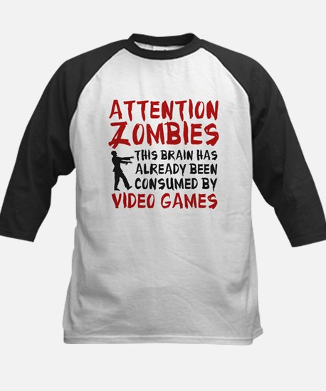 Attention Zombies Video Games Kids Baseball Jersey