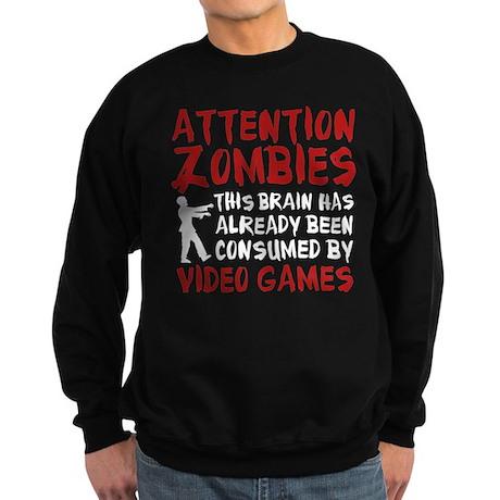 Attention Zombies Video Games Sweatshirt (dark)