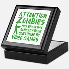 Attention Zombies Video Games Keepsake Box