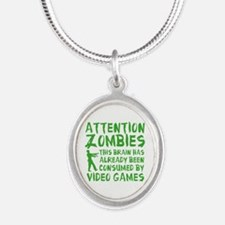 Attention Zombies Video Games Silver Oval Necklace