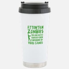 Attention Zombies Video Games Travel Mug