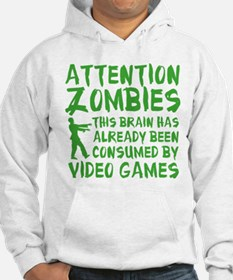 Attention Zombies Video Games Hoodie