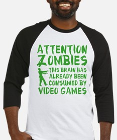 Attention Zombies Video Games Baseball Jersey