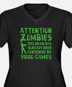 Attention Zombies Video Games Women's Plus Size V-