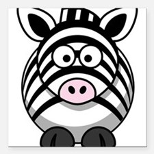 """Cartoon Zebra Square Car Magnet 3"""" x 3"""""""