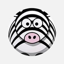 """Cartoon Zebra 3.5"""" Button"""