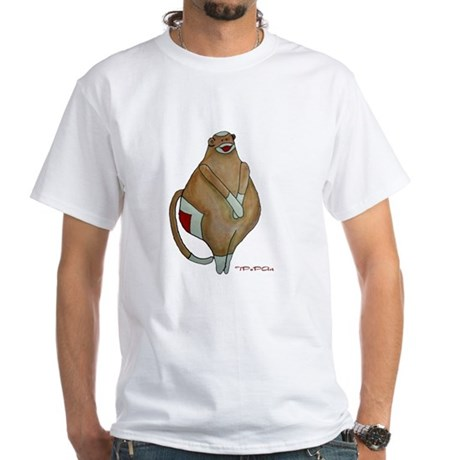 Front/Back Fat Sock Monkey White T-Shirt