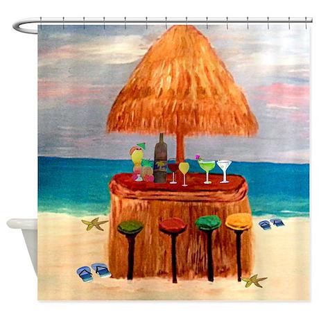 Tiki Bar Shower Curtain by bythebeach