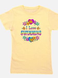 I Love Swimming Girl's Tee