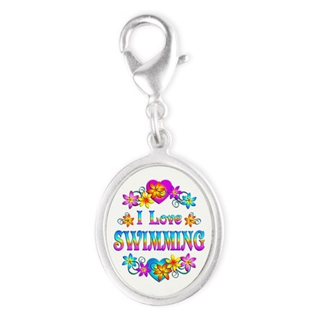 I Love Swimming Silver Oval Charm
