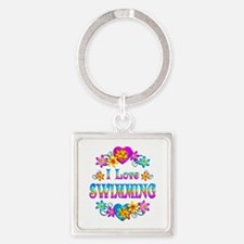 I Love Swimming Square Keychain