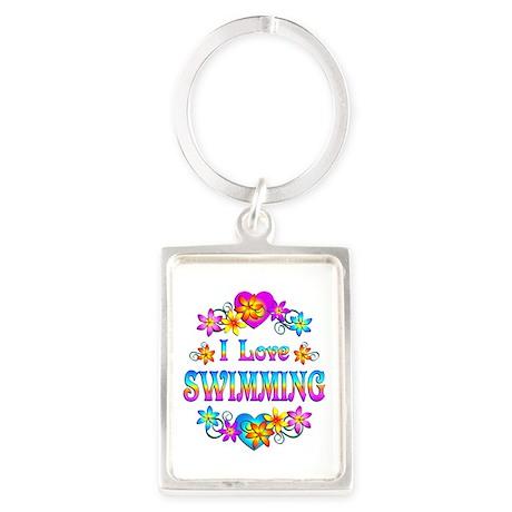 I Love Swimming Portrait Keychain