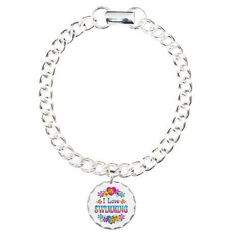 I Love Swimming Charm Bracelet, One Charm