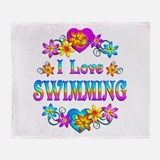 I Love Swimming Throw Blanket