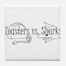 Toasters vs. Sharks Tile Coaster