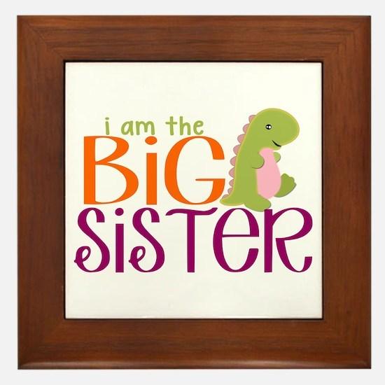 I am the Big Sister Dinosaur Framed Tile