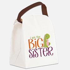 I am the Big Sister Dinosaur Canvas Lunch Bag