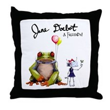 Jane Doebot and the Gorilla Toad Throw Pillow
