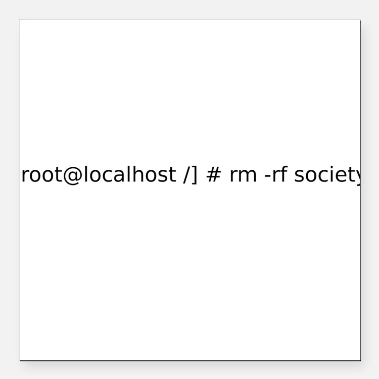 """Remove Society - Root Style Square Car Magnet 3"""" x"""