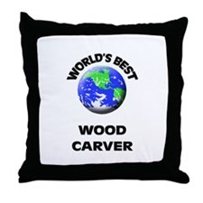 World's Best Wood Carver Throw Pillow