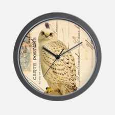 Vintage French white owl Wall Clock