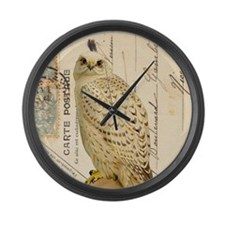Vintage French white owl Large Wall Clock