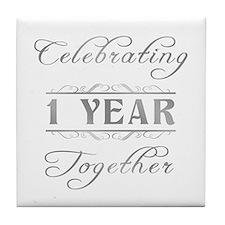 Celebrating 1 Year Together Tile Coaster