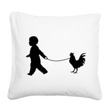 Baby and Chicken black Square Canvas Pillow