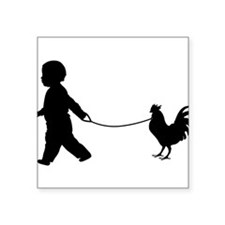 Baby and Chicken black Sticker