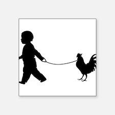 Baby and Chicken black Sticker