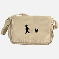 Baby and Chicken black Messenger Bag