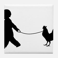Baby and Chicken black Tile Coaster