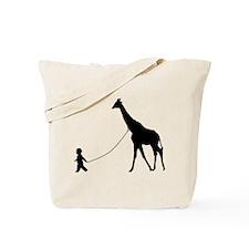 Baby and Giraffe black Tote Bag